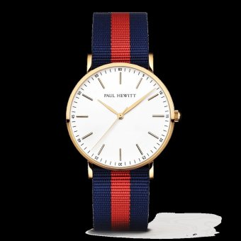 PAUL HEWITT Gold Line Unisex Navy Blue/Red Ballistic-Nylon Strap Watch