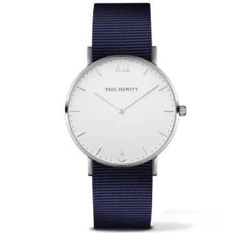 PAUL HEWITT Silver Line Unisex Navy Blue Ballistic-Nylon Strap Watch