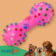 Paws Up Multi-Color Polka Dots Squeeze Faux Bone Dog's Squeaky Chew Toy Medium By Paws Up.