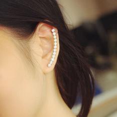 Pendientes Personality Earrings Clips Silver Full Rhinestone EarCuff Clip Earrings For Women - intl