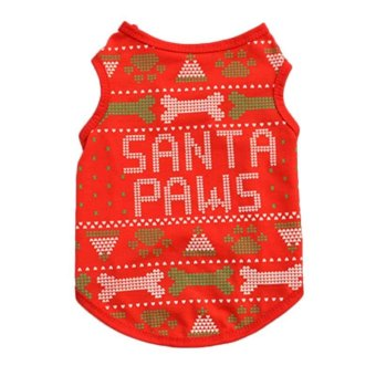 Pet Dog Vest Summer Tank T Shirt Funny Dog Christmas Style Small Dog Clothes SANTA PAWS - intl