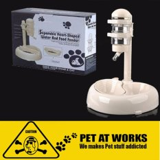 Pet Separable Water And Food Feeder Big (white) Heart-Shaped (for Dogs And Cats Pets) By Pet At Works.