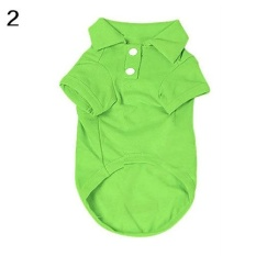 Phoenix B2C Puppy Dog Cat Summer Solid Color Buttoned Polo Shirt Pet Clothes Costume T-