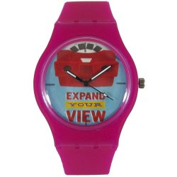 PIC Watch Expand Your View Unisex Silicone Strap Watch (Pink)