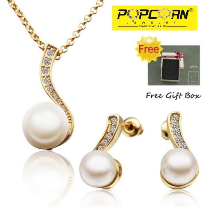 Popcorn S314 Pearl and Czech Stones Pendant Necklace Party Event Jewellery Set (Gold Plated)