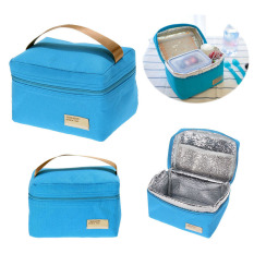 Portable Insulated Thermal Cooler Bento Lunch Box Tote Picnic (blue) By Crystalawaking.