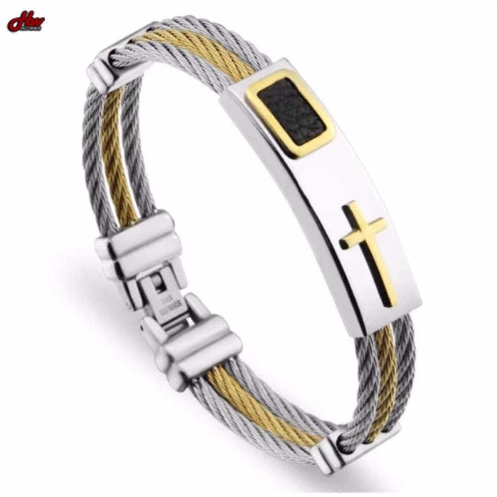 Premium Cross High Grade Stainless Steel Keep the Faith Bracelet for Men (Authentic)