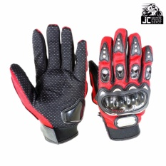Pro-Biker Motorcycle Riding Hand Full Finger Protection Gloves L (Red)