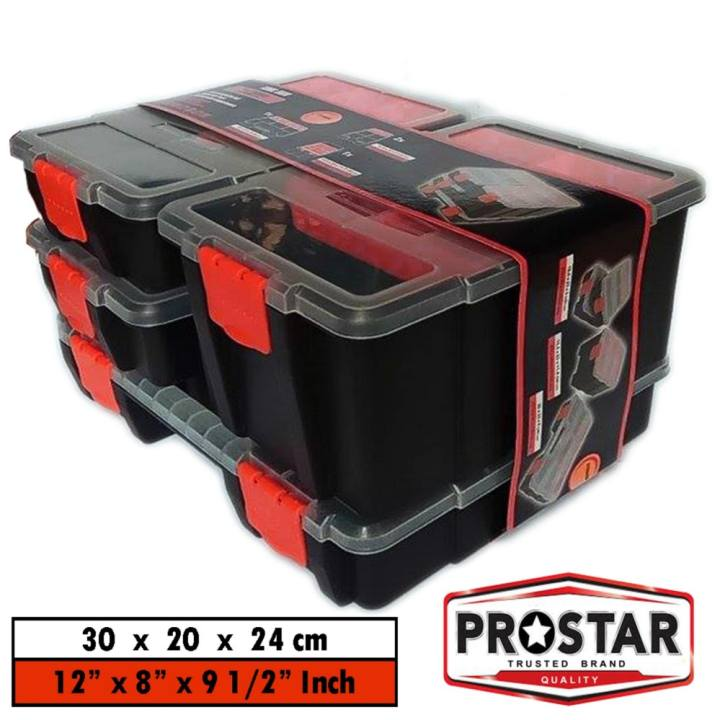 "Prostar F Box / Harley Inspired Color Combo Organizer Box / Tool Box Model F 2908 Set of 4"" (Black)"