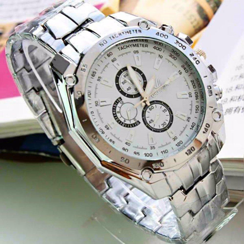QF ORLANDO Stainless steel Waterproof Quartz Luxury Men Wrist Watch(WHITE)