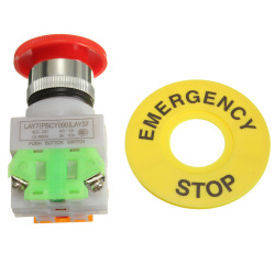 Red Mushroom Cap 1NO 1NC DPST Emergency Stop Push Button Switch - AC 660V 10A