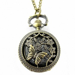 Retro Bronze Butterfly and Flower Openwork Cover Pocket Quartz Watch - intl