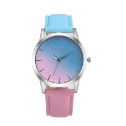 Retro Rainbow Design Leather Band Analog Alloy Quartz Wrist Watch BU - intl