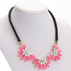 Retro Rhinestone Sunflower Alloy Rope Necklace for Ladies (Intl)