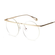 Retro Vintage Round Eyeglasses Frames Men 2018 Big Oversized Ladies Rimless Glasses Round Women Gold Metal