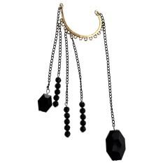 Rock Punk Exquisite Black Beads Long Chain Tassels Ear Cuff Earring-Black - intl
