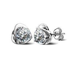 Rong Crystal Rhinestone Heart Silver Plated Ear Stud Earrings White - intl