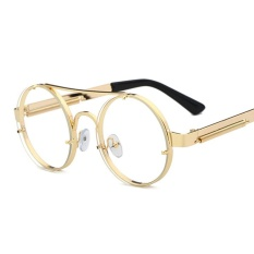 63812cac2fe Round Eyewear Frames Men Vintage Gold 2018 Flat Top Retro Round Metal Frame  Clear Lens Glasses