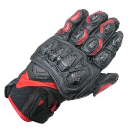 RS Taichi RST422 High Protection Leather Glove (Black/Red)