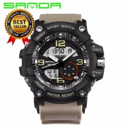SANDA Brand Men Quartz Digital LED Watch Sports S-Shock Waterproof Wristwatch - intl