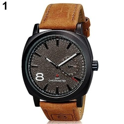Sanwood Fashion Men Faux Leather Band Quartz Analog Wristwatch Business Watch Xmas Gift (Black) - intl