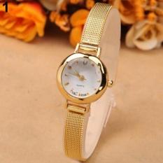 Sanwood® Fashion Women Slim Mesh Band Bracelet Round Dial Quartz Wrist Watch Gift (Gold