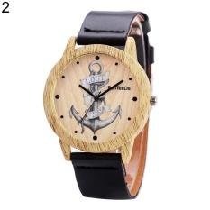 Sanwood® Vintage Faux Leather Anchor Women Men Quartz Analog Wrist Watch Valentine Gift (Black