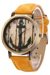 Sanwood Vintage Women Men Anchor Bronze Quartz Demin Band Wrist Watch Yellow