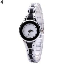 Sanwood® Women Fashion Stainless Steel Round Case Analog Quartz Bracelet Wrist Watch (Silver&black)