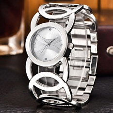Sanwood® Women Shiny Rhinestone Stainless Steel Bangle Bracelet Dress Quartz Wrist Watch (Silver White