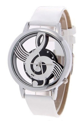 Sanwood Women's Hollow Musical Note Faux Leather Strap Quartz Wrist Watch White