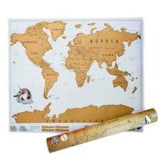 88x52cm Deluxe Travel Edition Scratch World Map Poster Black Gold - intlPHP568. PHP 569