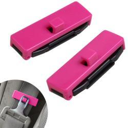 Seat Belt Adjusting Clip Tension Adjuster for Car Rose Red