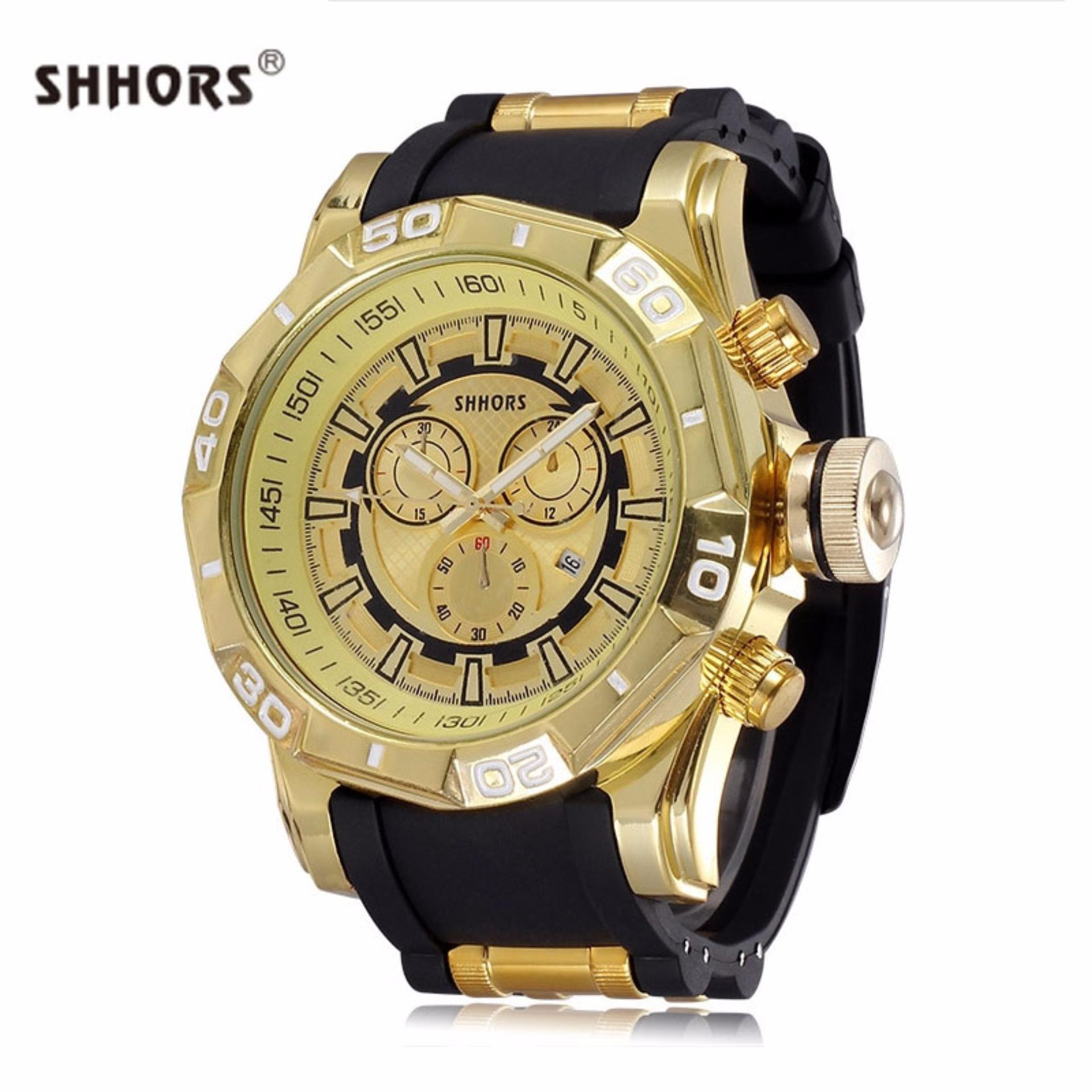 Shhors 80082 Men's Fashion PU Strap Sports Watch (Black/Gold) product preview, discount at cheapest price