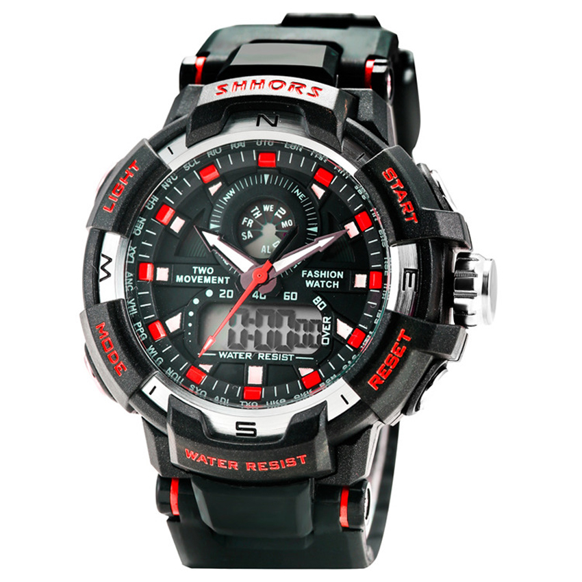 Shhors 853 Men's Dual Display Multifunction PU Strap Sports Watch (Red) product preview, discount at cheapest price