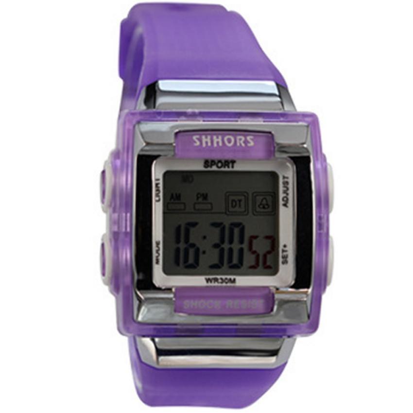 SHHORS Candy Sports Women Plastic Strap Watch (Purple)