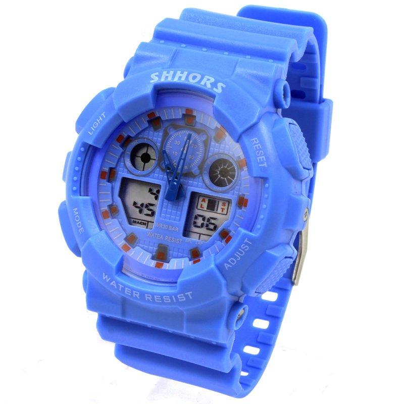 Shhors Raymond Sports Men Sky Blue Rubber Strap Watch SH-692A