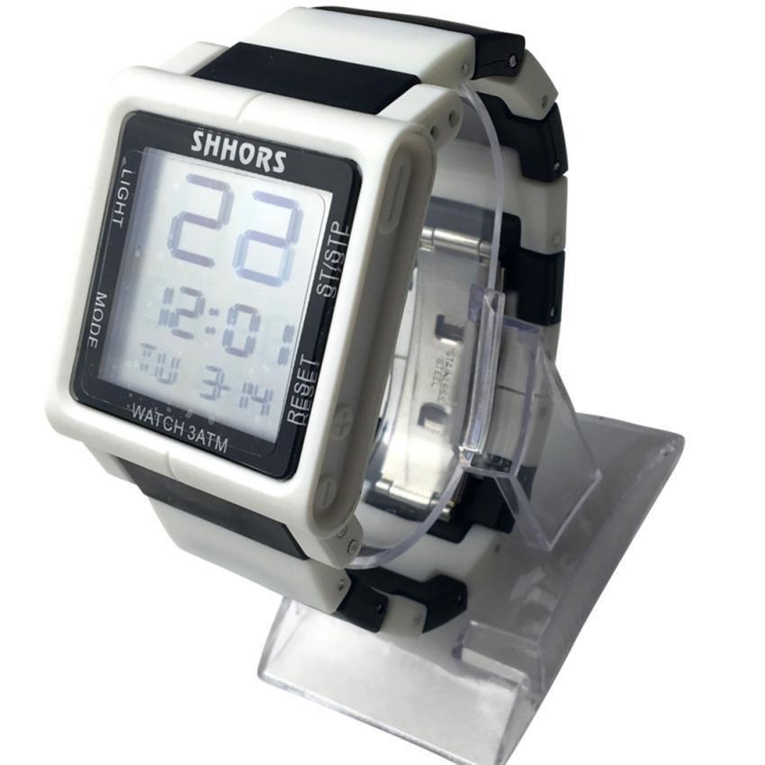 SHHORS  Sport Women Plastic Strap Watch (White)