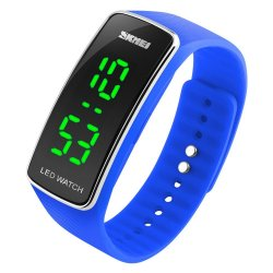 Silicone LED Sport Bracelet Touch Digital Wrist Watch Blue