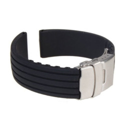 Silicone Rubber Watch Strap Band Deployment Buckle Waterproof 20mm