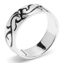 Silverworks R50445 Tribal Ring with Enamel Ring (Silver)