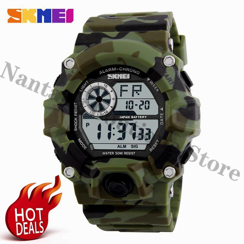 SKMEI 1019 Digital Watch Men Green Camouflage Wrist Watch