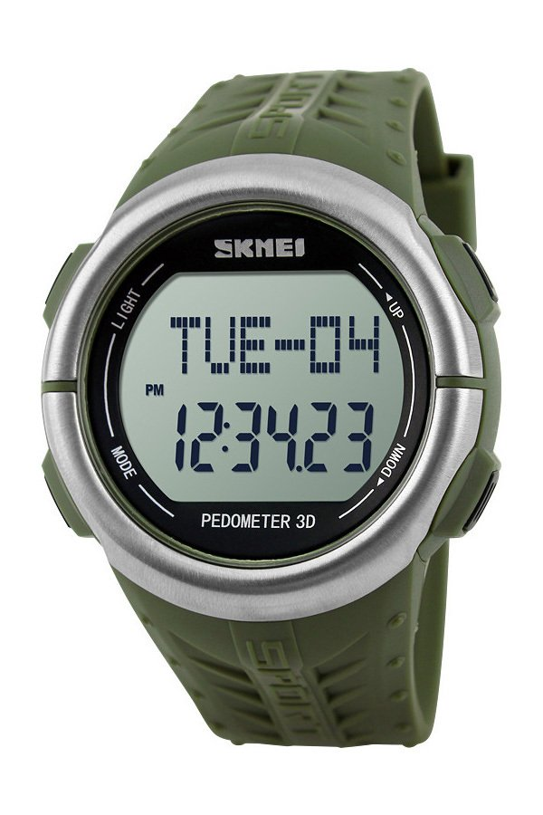 SKMEI 1058 Heart Rate Monitor Pedometer Sport Watch (Army Green)