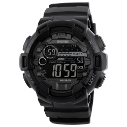 SKMEI 1243 50M Waterproof Men's Digital Outdoor Sports Watch with Chronograph / LED Display / Alarm Clock - Black - intl
