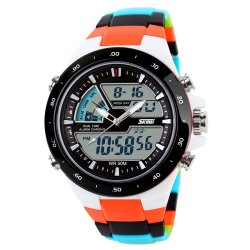 Skmei Fashion Men's Quartz Watch Analog-Digital Led Sports Waterproof Watch 1016 - Orange - intl