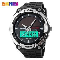 SKMEI Fashion Solar Power Dual Time Sports Military Watch Waterproof Wristwatch for Men and Women - intl