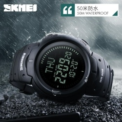 SKMEI Outdoor Man Sports Compass Watches Hiking Digital LED Electronic Watch Chronograph Men Clock - intl