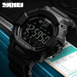 SKMEI Ready Stock Men Bluetooth Smart Watch Chronograph Calories Pedometer Multi-Functions Sports Watches Phone calls to Reminder Waterproof Digital Wristwatches 1249 S Sport