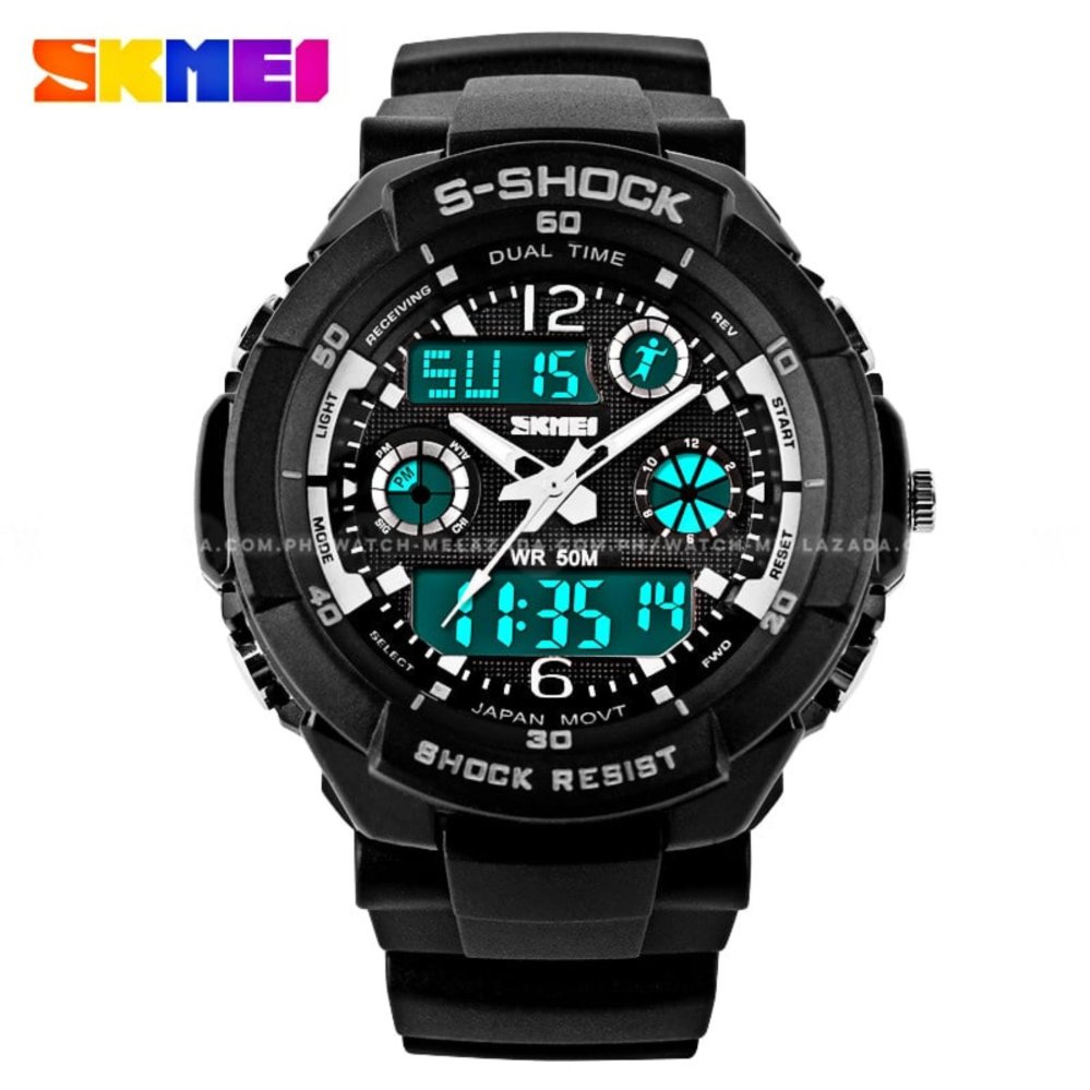 SKMEI S-Shock Men's Military Sport Full Feature Dual Time Rubber Strap Watch product preview, discount at cheapest price