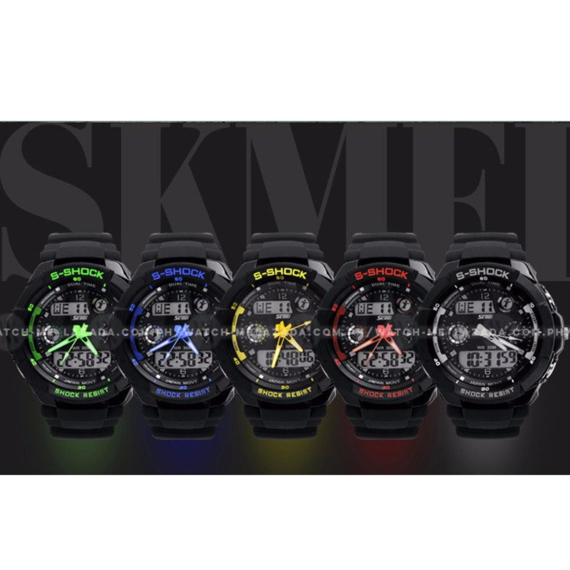 SKMEI S-Shock Men's Military Sport Full Feature Dual Time Rubber Strap Watch - thumbnail